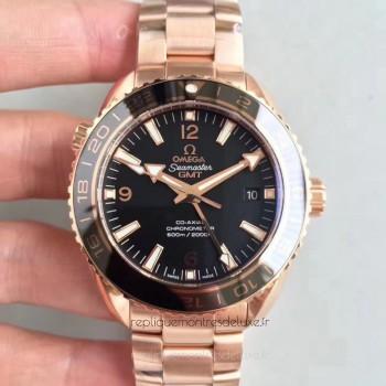 Réplique Omega Seamaster Planet Ocean 600M GMT 232.63.44.22.01.001 Or rose Noir Dial