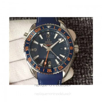 Réplique Omega Seamaster Planet Ocean GMT Good Planet Foundation Acier inoxydable Bleu Dial