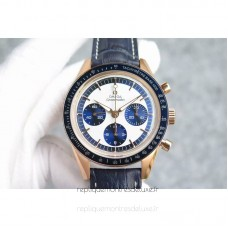 Replica Omega Speedmaster Moonwatch Limited Edition Rose Gold White /Blue Dial