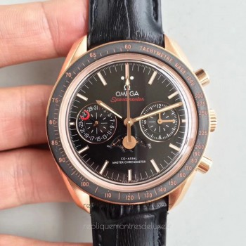 Réplique Omega Speedmaster Moonwatch Moonphase Chronographe 304.63.44.52.01.001 Or rose Noir Dial