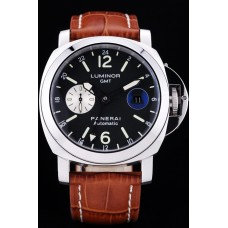 Panerai Luminor 3 Days Automatic GMT watch brown leath strap