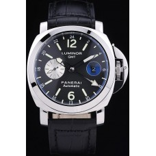 Panerai Luminor 3 Days Automatic GMT watch black leath strap
