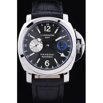 Réplique Montre Panerai Luminor 3 Days Automatic GMT bracelet cuir noir
