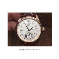 Replica Rolex Cellini 50525 Rose Gold White Dial