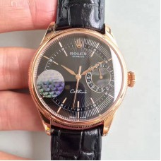 Replica Rolex Cellini Date 50515 Rose Gold Black Dial