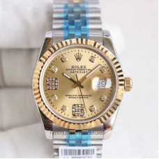 Replica Rolex Datejust 36 116233 36MM Stainless Steel & Yellow Gold Champagne & Diamonds Dial