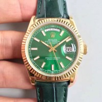 Replica Rolex Day-Date 118138 36MM Yellow Gold Green Dial