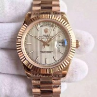 Replica Rolex Day-Date 40 228235 40MM Rose Gold Silver Stripe Dial