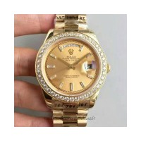 Réplique montre Day-Date 40 - Cadran Champagne - Or jaune et diamants - 228348RBR 40MM