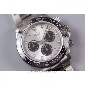 Réplique montre Daytona Cosmograph 116506LN cadran argenté en acier inoxydable