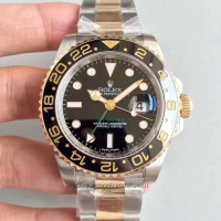 Replica Rolex GMT-Master II 116713LN 24K Yellow Gold Wrapped & Stainless Steel Black Dial