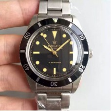 Replica Rolex Submariner 6538 Big Crown Stainless Steel Black Dial