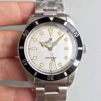 Réplique montre Submariner 6538 cadran blanc en acier inoxydable Big Crown
