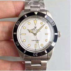 Replica Rolex Submariner 6538 Big Crown Stainless Steel White Dial