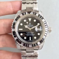 Replica Rolex Submariner Date 116610LN Stainless Steel & Diamonds Black Dial