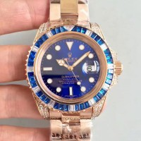 Réplique montre Submariner Date 116618LB Cadran Bleu Or et Diamants