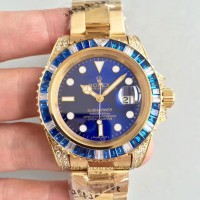 Réplique montre Submariner Date 116618LB Cadran Bleu En Or Jaune Et Diamants