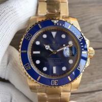 Réplique montre Submariner Date 116618LB Cadran Bleu Emballé En Or Jaune 18K