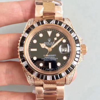 Réplique montre Submariner Date 116618LN Cadran Noir - Or Rose