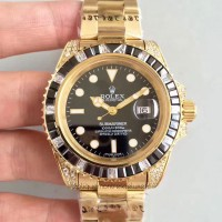 Réplique montre Submariner Date 116618LN Cadran Noir - Or Jaune & Diamants
