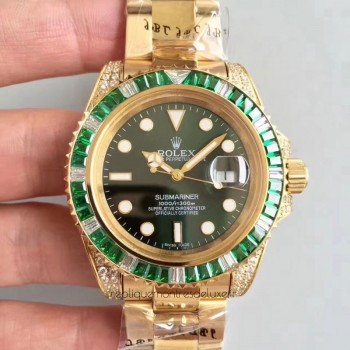 Réplique montre Submariner Date 116618LV Cadran Vert - Or Jaune Et Diamants