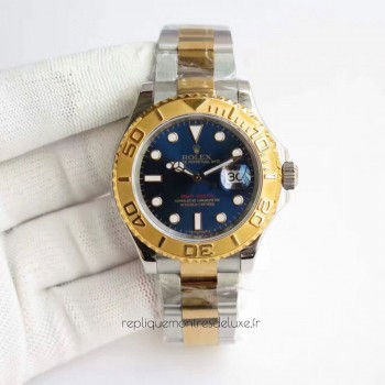 Réplique montre Yacht-Master 40 116622 en acier inoxydable et cadran bleu en or jaune