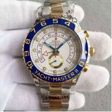 Replica Rolex Yacht-Master II 116681 Stainless Steel & Yellow Gold White Dial