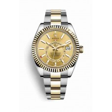 Rolex Sky-Dweller Yellow Rolesor Oyster Steel Yellow Gold 326933 Champagne-colored dial