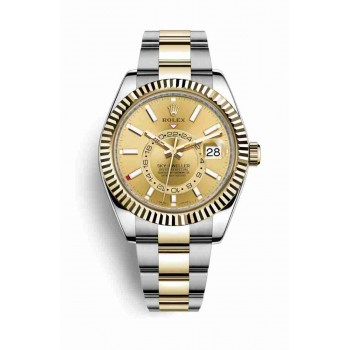 Rolex Sky-Dweller Yellow Rolesor Oyster Steel jaune or 326933 Cadran champagne