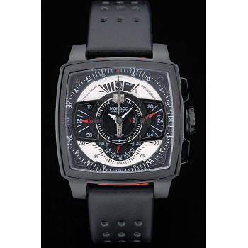 Tag Heuer Monaco Bracelet en cuir perforé noir-rouge Cadran noir 80309