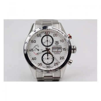 Réplique Tag Heuer Carrera Calibre 16 Stainless Steel White Dial Calibre 16